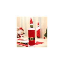 Vánoční dekorace na láhve - obal na láhev Santa Claus