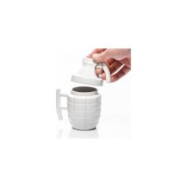 Granátový hrnek s víčkem - bílý