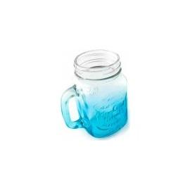 VOG Barevná sklenice s brčkem Modrá 400 ml